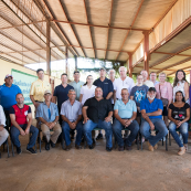 Photo: The delegation with members of the farmer cooperative assembly at a farm in Cuba.