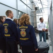Many groups come into the center  to learn about what we do. We're always excited to host groups like the Kansas FFA State Officers in the building.