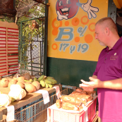 Photo: Kansas Wheat Commissioner Doug Keesling at farmer's market in Cuba.
