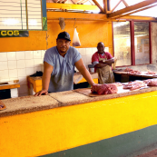 Photo: Meat counter at Farmer's Market in Havana, Cuba.