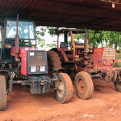 Photo: New and old tractors at a farm in Cuba.
