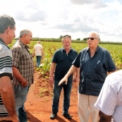 Photo: Ambassador Juan Jose Leon Vega, Cuban Ministry of Agriculture International Affairs Division, talks with Cuban and U.S. farmers.