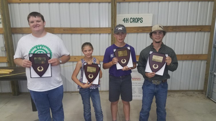 Left to right: Jacob Bell, Wild West District - Hugoton, Maddy Nichepor, Walnut Creek District – Ness City, Ryan Myers, Central Kansas District – Minneapolis, Truman Hooker, Sunflower District – Goodland