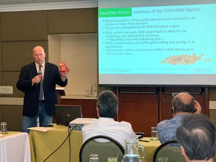 Kansas Wheat CEO Justin Gilpin recently presented quality data about hard red winter wheat at seminars in South America.