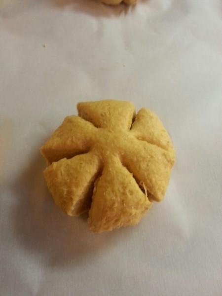 Pumpkin-shaped rolls for Thanksgiving.