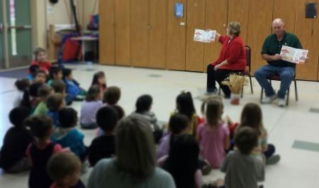 Kim and Randy Fritzemeier teach elementary students about Kansas wheat.