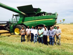 Nigerian mill managers visit a Kansas wheat farm during harvest near Wilsey, in Morris County.