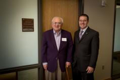 Dr. Barry Flinchbaugh and Dalton Henry at the Kansas Wheat Innovation Center.