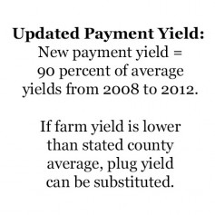 Updated Payment Yield: New payment yield = 90 percent of average yields from 2008 to 2012. If farm yield is lower than stated county average, plug yield can be substituted.
