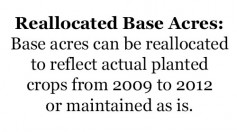 Reallocated Base Acres: Base acres can be reallocated to reflect actual planted crops from 2009 to 2012 or maintained as is.
