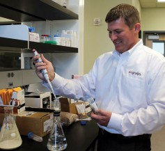 Photo: Dr. Chris Miller in his lab at the Kansas Wheat Innovation Center.