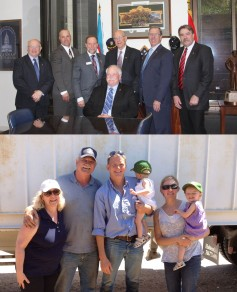 Top: Penner and other NAWG officers with Senator Pat Roberts. Bottom: Penner family.
